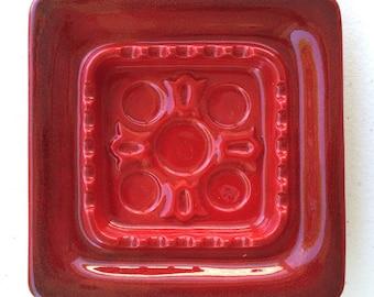 Haeger Coin Ashtray red - circa 1950s