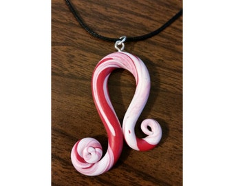 Red and White Swirly Necklace