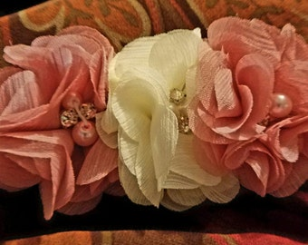 Pink and off white shabby chic infant headband