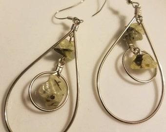 Silver and Green Prehnite Chandelier Earrings