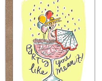 Flamingo Margarita Birthday Card