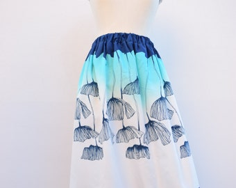 Skirt with blue poppies