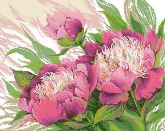 Pink Peonies Cross Stitch Pattern