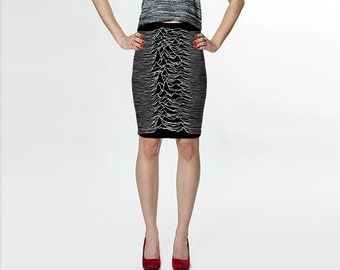 unknown pleasures - joy division - fitted printed skirt
