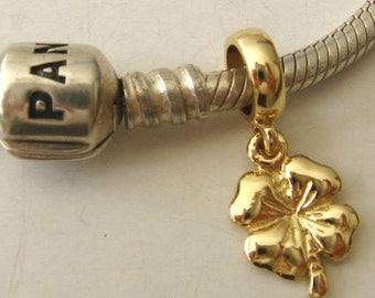 Genuine SOLID 9K 9ct YELLOW GOLD Charm 4 Four Leaf Clover Drop Bead