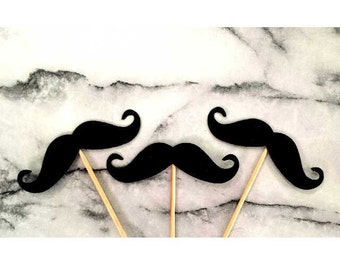 Black moustache party cupcake and straw toppers and confetti