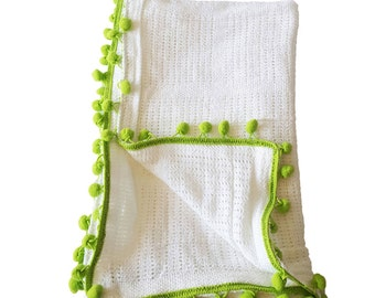 White And Green Knitted Pom Pom Blanket