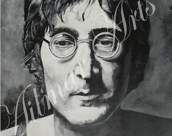 Beatles,John Lennon,acrylic,black and white,canvas covered board.