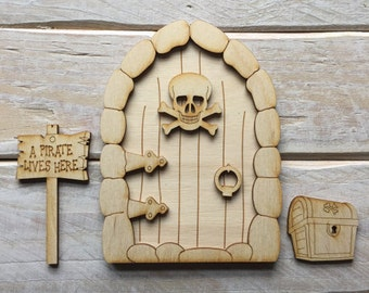 Wooden Fairy Door Blank Birch Pywood Pirate Hobbit Elf lost boy door Kit ready to decorate KIT CSP