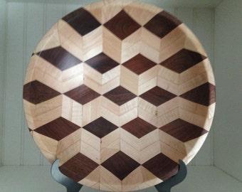 Black Walnut and Maple 3-dimensional segmented bowl