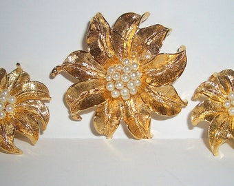 Vintage Gold and Pearl Brooch and Earring Set
