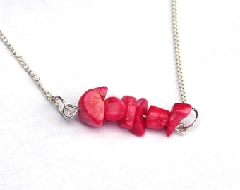 Pink Coral bar necklace - silver chain - natural coral chips