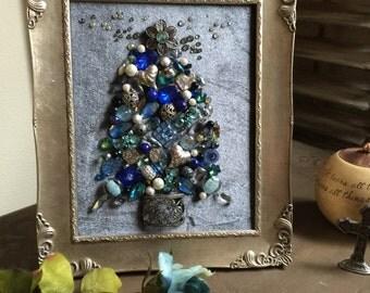 Blue Jeweled Christmas Tree