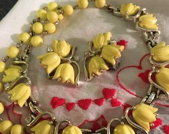 SIGNED Kramer Choker, Kramer milk glass Necklace & Earring Set, Kramer, Yellow Kramer, Kramer necklace, Kramer earrings, Kramer jewelry set