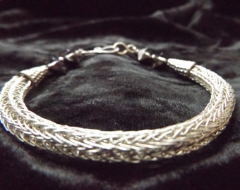 Sterling Silver Viking knit bracelet with Swarovski Crystal double spiked beads