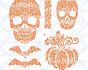 Halloween Sugar Skull and Pumpkin SVG,EPS,PNG,Studio