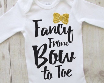baby girl clothes - baby shirt - cute baby clothes - baby shower ideas - fancy from bow to toe - bringing home baby outfit - black and gold