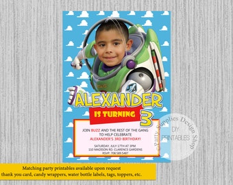 PRINTED or Digital Toy Story Buzz Lightyear Birthday Invitations, Toy Story Movie 4 Party Supplies, Buzz Lightyear Photo Invitations
