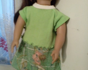 "18"" doll skirt and top in green"