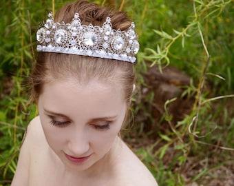 Silver Filigree Crown, Bridal Crown, Wedding Modren Crown, Princess Crown, party crown, Silver crystal crown, prom jewels, prom crown