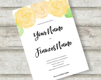 Spring Wedding Invite Instant Download