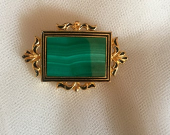 MFA Museum of Fine Arts Brooch - Beautiful green with gold accents