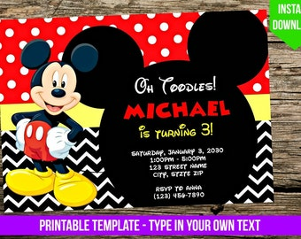 Mickey Mouse Invitation - DIY - You Print - Birthday Party Invite - Disney Inspired Editable PDF Invitation with Adobe Reader - Printable