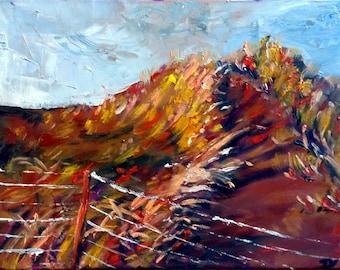 """Original Oil Landscape painting, Grass Land, 60026, 12""""x16"""""""