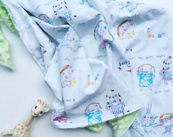 Baby Blanket (Storybook) - Bunny rug, Stroller blanket, baby bedding, Car blanket