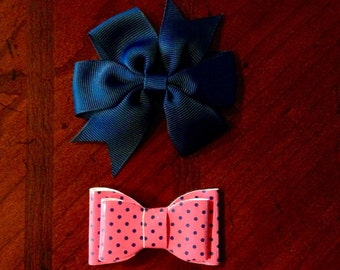 Navy and Pink bows