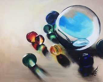 Losing my Marbles - Original Oil on Canvas