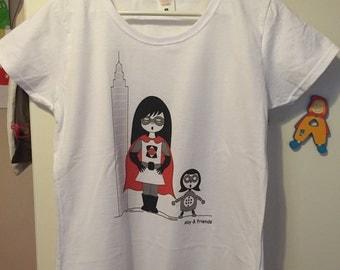 T-shirt girl superhero and robot