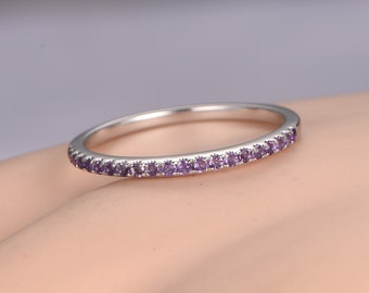 Natural amethyst wedding band 14k white gold half eternity ring engagement ring stacking matching band anniversary ring 1.2mm thin Pave