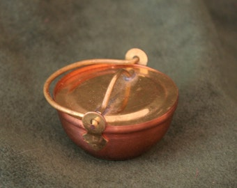 Miniature Copper Kettle with Brass Lid and Detail