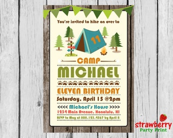 Camping Party Invitation, Camping Birthday Invitation, Girl Camping Party Invitation, Campout Invitation, Party Printables