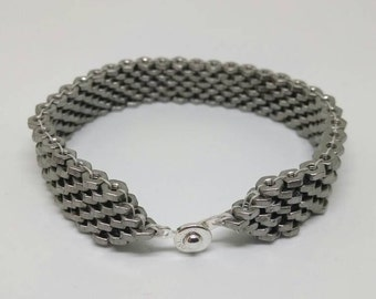 Stainless Steel Hex nut bracelet #2-56 hex nuts.  Sterling button clasp