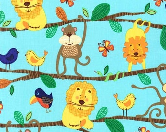 BTHY - Hanging Around by Michael Miller, Pattern #CX5961-TURQ-D, Monkies. Lions, Birds and Butterflies on a Turquoise Background