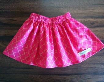 Girls Pink and Gold Gathered Waist Skirt