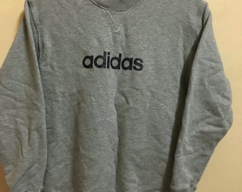 Vintage 90's Adidas Trefoil Grey 3 Stripes Sport Classic Design Skate Sweat Shirt Sweater Varsity Jacket Size M #A181