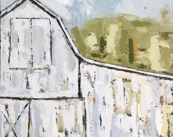"24""x24"" Large Abstract Barn Original Oil Painting"