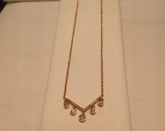 14 k Rose gold diamond necklace