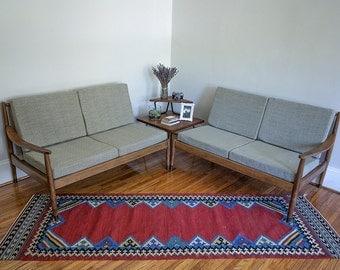 Mid Century Wood Frame Sectional Sofa