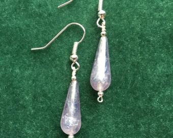 Lavender and Silver Teardrop Earrings