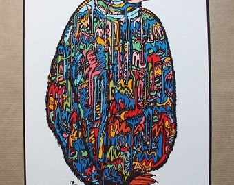 808 Penguin Wildstyle Original 16 colour - A4 limited edition print