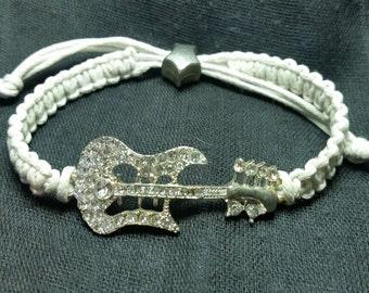 macrame white bracelet with Rhinestone guitar central element