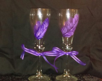 2 piece Hand Painted Purple Feather Champagne Glass Set