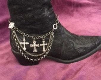 Boot Bling Rhinestone Cross Chain