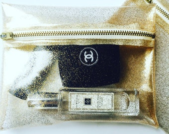 Gold glitter clear makeup pouch