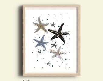 Sea shells art, sea shells home decor, sea star art, grey illustration print, Printable nautical art, nursery decor, kids room, digital art