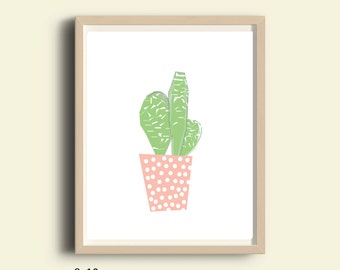 Nursery decor, PRINTABLE, nursery wall art, Kids poster, nursery poster, poster kids, kids room poster, kids decor, cactus, pink, art print